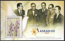 Singapore stamp - 2017 ASEAN 50 Anniv Orchid $5 Sheet 1v MNH flower flora