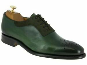 Mens Handmade Shoes Green Leather Brogue Formal Dress Lace Up Style Casual Boots