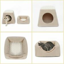New Warm Pet Dog Cat House Beds Tent Sofa Bed 2 USES Cushion Mat Kitty Puppy