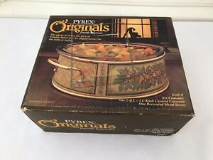 Vintage Pyrex Originals Round Baking Dish Metal Server Amber Casserole Bakeware