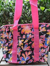 Pink Floral Paisley Splash Insulated Tote Bag Travel Beach Shopping Thermal NEW