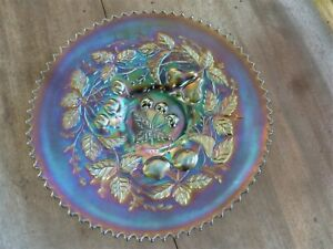 """Northwood CARNIVAL GLASS, Three Fruits  Plate, 9"""", Purple & Blue Electric Colors"""