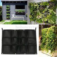 Green Vertical Living Home 12 Pockets Garden Hanging Wall Planter Green Field