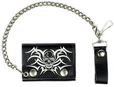 TRIBAL SKULL HEADS TRIFOLD BIKER WALLET W CHAIN mens LEATHER #580 celtic NEW