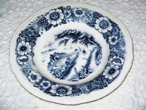 Blue White Plate from Japan Castle in Centre Floral Rim 19cm Wide Sturdy Ceramic