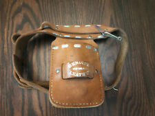 Vintage Kids Western Cowboy toy Gun real leather Silver Buckle Holster  belt