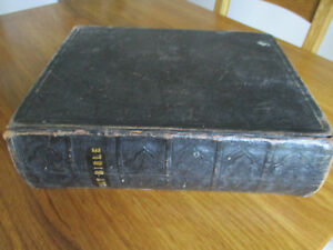 Large & heavy leatherbound antique Church Bible 1850 - Old & New testaments