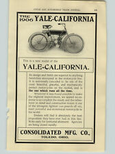 1906 PAPER AD Yale California Motorcycle Consolidated Toledo Ohjo