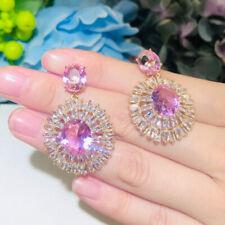 CWWZircons 14k Gold Rosa Sapphire Topaz 925 Sterling Silber Ohrringe für Frauen