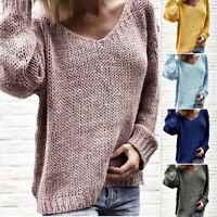 Womens New Fashion V-Neck Sweater Pullover Long Sleeve Loose Knit Sweatshirts