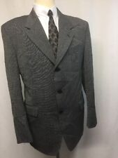 Lazetti Couture Portly Fit Black With Overcheck Two Button Wool Suit Size 42R