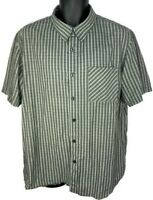 Oakley Men's XL Gray White Embroidered Plaid Short Sleeve Button Up Shirt Used