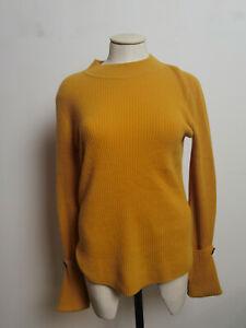 Jigsaw Cashmere Purser Button Cuff Jumper Mustard Size M RRP £165.00
