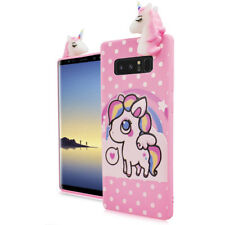 For Samsung Galaxy NOTE 8 - Cute Unicorn Polka Dots Soft Rubber Silicone 4D Case