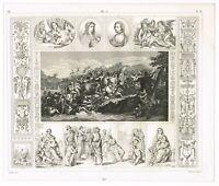 ANTIQUE PRINT VINTAGE 1851 ENGRAVING ART ITALIAN PAINTING 16TH & 17TH CENTURY