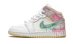 Nike Air Jordan 1 Mid SE GS Paint Drip White Pink DD1666-100