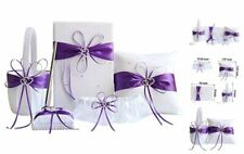 5pcs Sets Purple Wedding Flower Girl Basket Guest Book Pen with Ring Pillow and