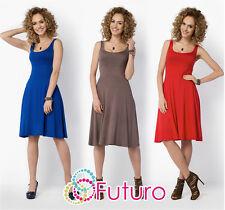 Womens Plain Sleeveless Skater Dress Knee Length Summer Plus Sizes 8-18 FM19