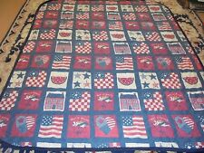 Cute Red, White & Blue Printed Heart of America Patriotic Quilt