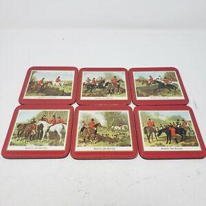 Vintage Pimpernel English Hunting Scarlet Table Mats Drink Bar Beer Coasters Set
