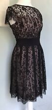 GREAT PLAINS Black Lace Overay Fit & Flare Dress Sz M 12 NWT Stretch Party Cute