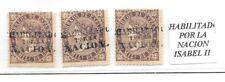 España. Isabel II. Tres sellos con sobrecarga HABILITADO POR LA NACION