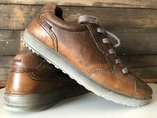 ECCO Brown Leather Lace Up Casual Comfort Walking Shoes Men's 42 / US 8-8.5
