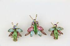Juliana Glitter Bug Rhinestone Brooch & Earrings Book Set - Gold Tone