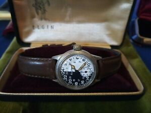 Military Elgin Black and White Dial Watch, 1943 Very Rare, Collectors Vintage.