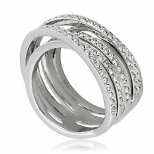 Jewelry & Watches New Sterling Silver S925 Braided Pave Ring Size 54 Uk Seller Available In Various Designs And Specifications For Your Selection