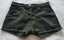 Levis Ladies 501 Denim Shorts Hot Pants W30 Black Daisy Dukes Waist 30in