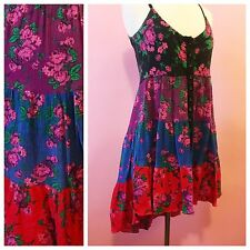 Betsey Johnson Dress Floral Poet Toile Tiered S Small Hi Lo Rose 2 4 6 Buttons