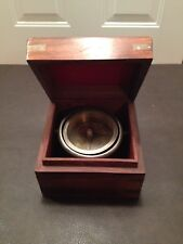 Vintage Gimballed Compass Nautical Marine Ships Fancy Wood Box Brass Accents