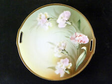 R S GERMANY DOUBLE HANDLED HAND PAINTED CARNATIONS ~ DECORATIVE PLATE ~  9""