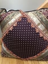 Croscill TOWNHOUSE  Damask Stripe Fringe Square Fringed Decorative Pillow
