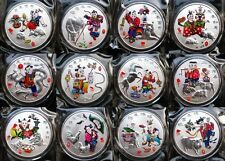 Complete Set of 12 Pcs Chinese Lunar Zodiac Colored Silver Coins Token 1 Oz