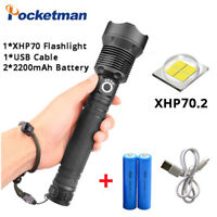 XHP70 40000LM Tactical LED Flashlight Rechargeable USB zoomable Torch Light