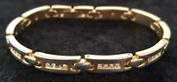 Gold plate & clear stone vintage Art Deco antique link bracelet