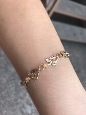 """14k Yellow Gold Diamond Cut Wings Hearts and Angels Bracelet 1/4"""" Thick 7"""" Long"""