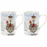Christmas Robins Set of 2 Fine China Robin Mugs - Gift Boxed
