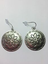 AMERICAN EAGLE MUTED SILVER FLOWER EARRINGS ~ CIRCLE ETCHED FLOWERS
