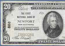 NH 1929 $20 ♚♚NEWPORT,NEW HAMPSHIRE♚♚ CH#888   HARD TO FIND