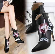 Zip Leather Ankle Boots Floral Shoes for Women
