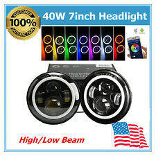 "2X 40W 7""inch Hi/Lo LED Headlight Bluetooth RGB Halo Ring Fits Jeep Wrangler JK"
