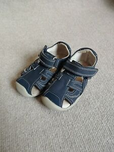 Pediped Brody Leather Sandals Toddler Boys Size 7 Blue Memory Foam Arch Support