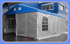 Lagerzelt Kleinlager Beplant 6x12m mit Statik / Blau - Weissaluminium
