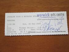 JOCELYN POOK ENSEMBLE & NATASHA ATLAS  WARWICK ARTS CENTRE AUTOGRPAHED TICKET