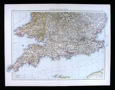 1900 Times Map England Wales London English Channel Middlesex Bristol Oxford UK