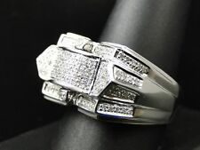 Men 14K White Gold Over 2 CT Diamond Round Cut Engagement Ring Wedding Band New