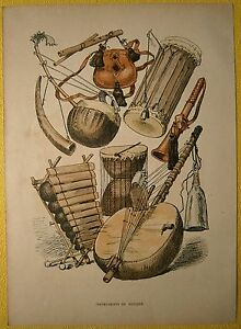 ca.1880 print MUSICAL INSTRUMENTS FROM SENEGAL (#8)